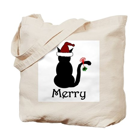 Merry Christmas Cat Tote Bag
