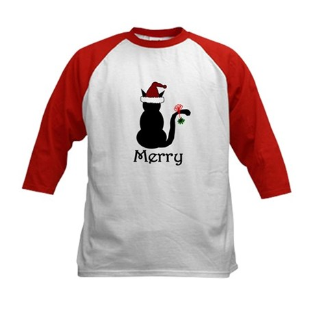 Merry Christmas Cat Kids Baseball Jersey