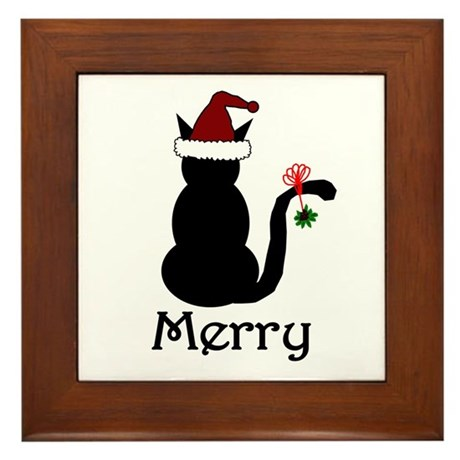 Merry Christmas Cat Framed Tile