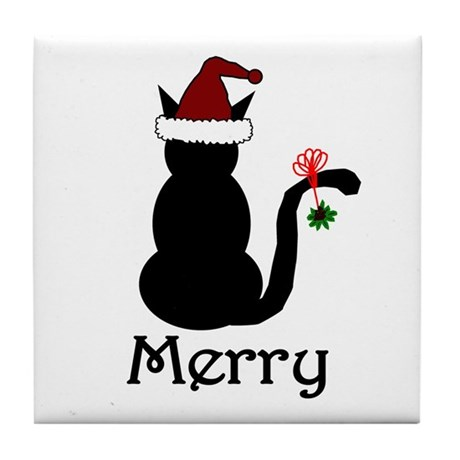 Merry Christmas Cat Tile Coaster