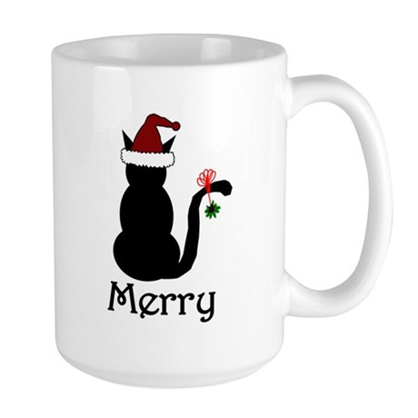Merry Christmas Cat Large Mug