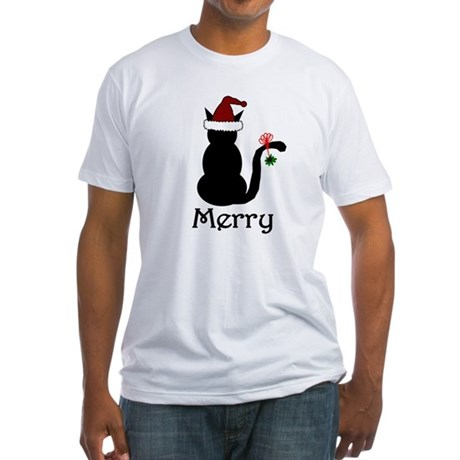 Merry Christmas Cat Fitted T-Shirt