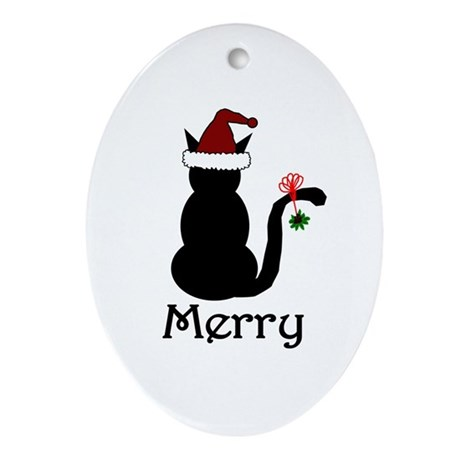 Merry Christmas Cat Oval Ornament