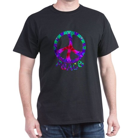 Flowery Peace Symbol Dark T-Shirt