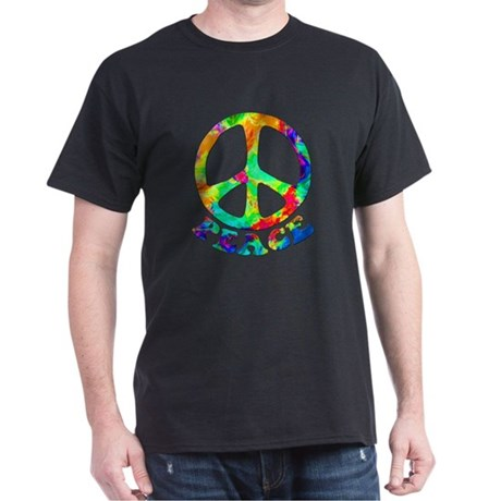 Rainbow Pool Peace Symbol Dark T-Shirt
