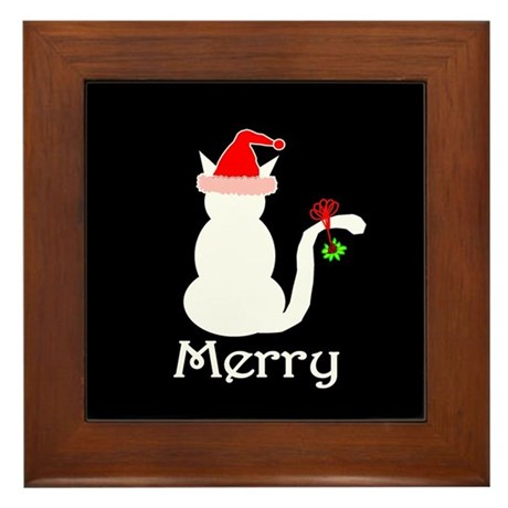 Merry Cat Christmas Framed Tile