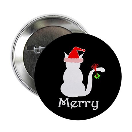 Merry Cat Christmas Button