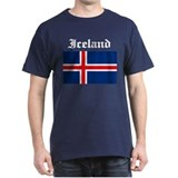 Iceland Flag Black T-Shirt
