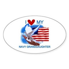 Love My Navy Granddaughter Oval Decal