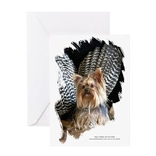 Wild Yorkie Thanksgiving Dog Greeting Card