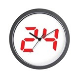 24 twenty-four red alarm cloc Wall Clock