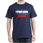 Russia Russian Flag Navy Blue T-Shirt