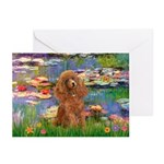 Lilies / Poodle (Apricot) Greeting Cards (Pk of 10