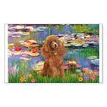 Lilies / Poodle (Apricot) Sticker (Rectangle)