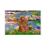 Lilies / Poodle (Apricot) Mini Poster Print