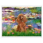 Lilies / Poodle (Apricot) Small Poster