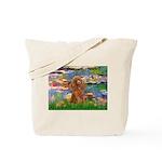 Lilies / Poodle (Apricot) Tote Bag