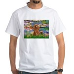Lilies / Poodle (Apricot) White T-Shirt