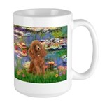 Lilies / Poodle (Apricot) Large Mug
