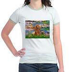 Lilies / Poodle (Apricot) Jr. Ringer T-Shirt
