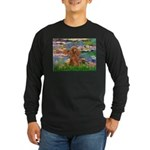 Lilies / Poodle (Apricot) Long Sleeve Dark T-Shirt