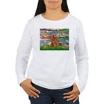 Lilies / Poodle (Apricot) Women's Long Sleeve T-Sh