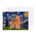 Starry / Poodle (Apricot) Greeting Cards (Pk of 10