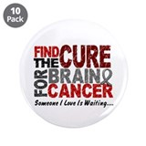 "Find The Cure 1 BRAIN CANCER 3.5"" Button (10 pack)"