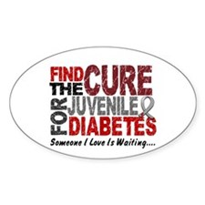 Find The Cure 1 JUV DIABETES Oval Sticker (50 pk)