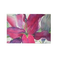 Pink Lily Rectangle Magnet (100 pack)