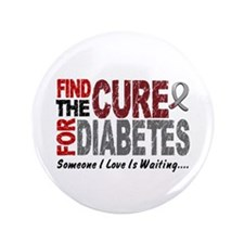 "Find The Cure 1 DIABETES 3.5"" Button (100 pack)"