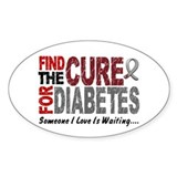Find The Cure 1 DIABETES Oval Sticker (10 pk)