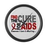 Find The Cure 1 HIV AIDS Large Wall Clock
