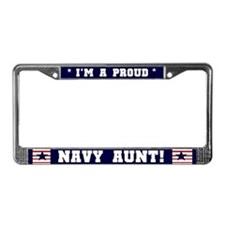 Proud Navy Aunt License Plate Frame