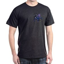Blue Dragon At Night Black T-Shirt
