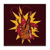 Crawfish Upright Bassist Tile Coaster