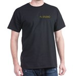 Black T-Shirt with With Orange FL STUDIO on pocket