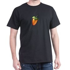 "Black T-Shirt with Colored 5"" Fruit centered"