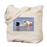 Dogs Playing in Sea Tote Bag