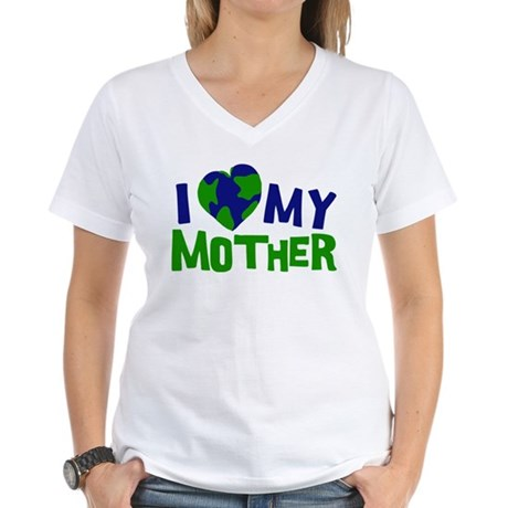 I Heart My Mother Earth Women's V-Neck T-Shirt