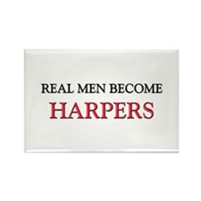 Real Men Become Harpers Rectangle Magnet