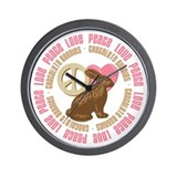 Peace Love Chocolate Bunnies Wall Clock