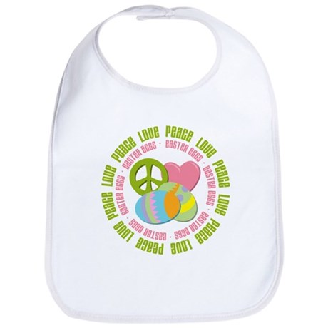 Peace Love Easter Eggs Bib