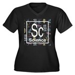Science Retro Women's Plus Size V-Neck Dark T-Shir