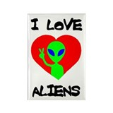 I Love Aliens Rectangle Magnet (100 pack)