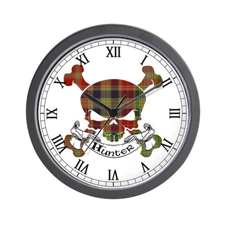 Hunter Tartan Skull Wall Clock