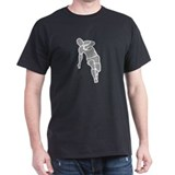 Running Rugby Player Black T-Shirt