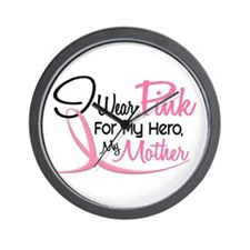Pink For My Hero 3 MOTHER Wall Clock