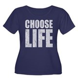 Choose Life Women's Plus Size Scoop Neck Dark T-Sh