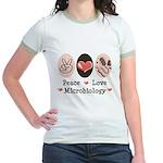 Peace Love Microbiology Jr. Ringer T-Shirt
